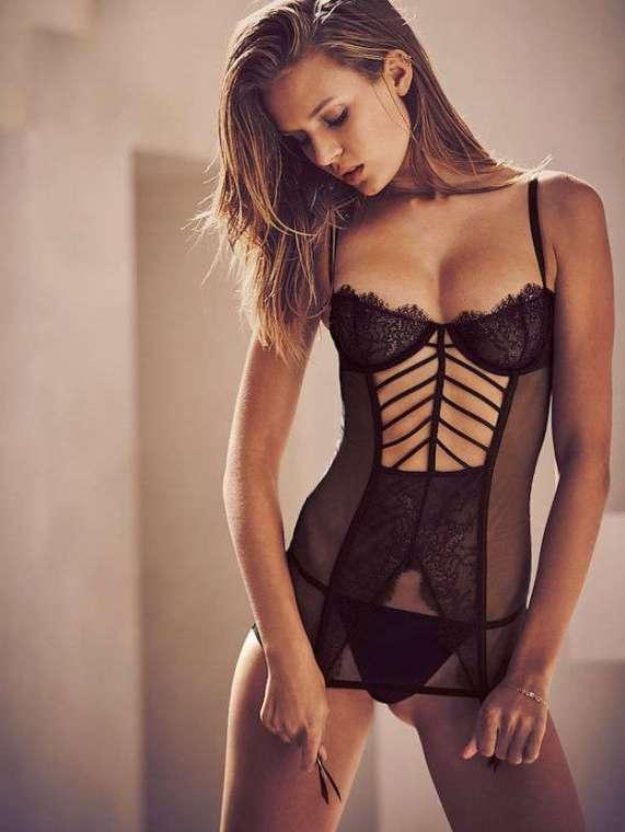corset negru victoria secret