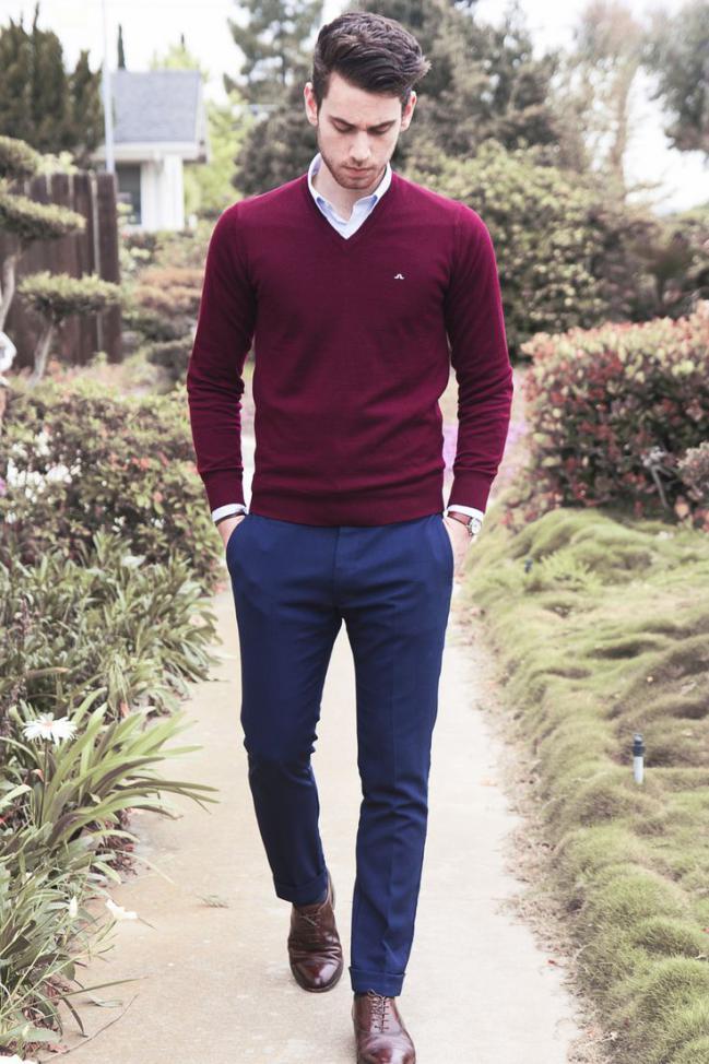 pulover barbati guler v