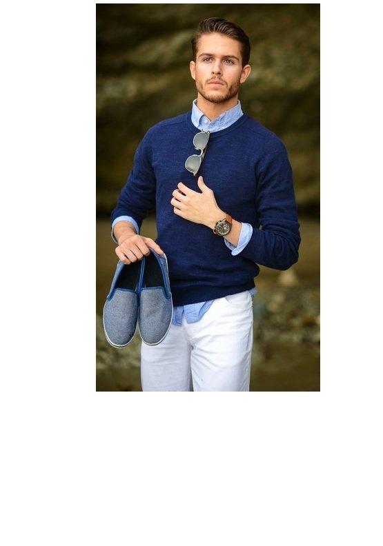 pulover bleumarin guler circular