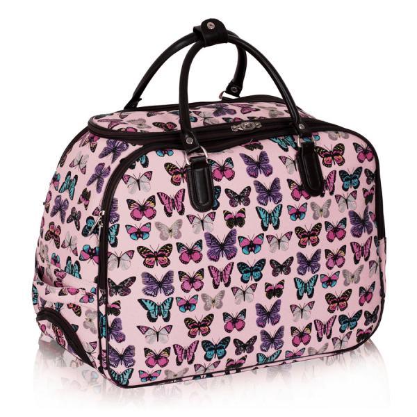 geanta-pentru-voiaj-de-culoare-roz-cu-fluturi-multicolori-rotite-si-maner-retractabil-1