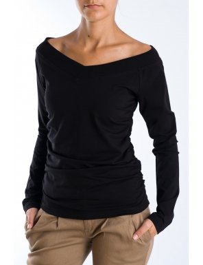 pulover negru decolteu V