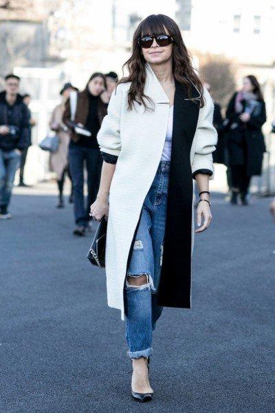 jeans alb negru