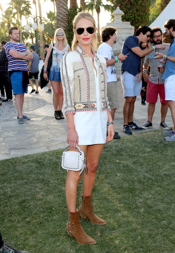 INDIO, CA - APRIL 11: Actress and designer Kate Bosworth wearing boots she designed for her Matisse shoe line and jacket by Etro during the 2015 Coachella Valley Music and Arts Festival - Weekend 1 at The Empire Polo Club on April 11, 2015 in Indio, California. (Photo by Rachel Murray/Getty Images for Coachella)