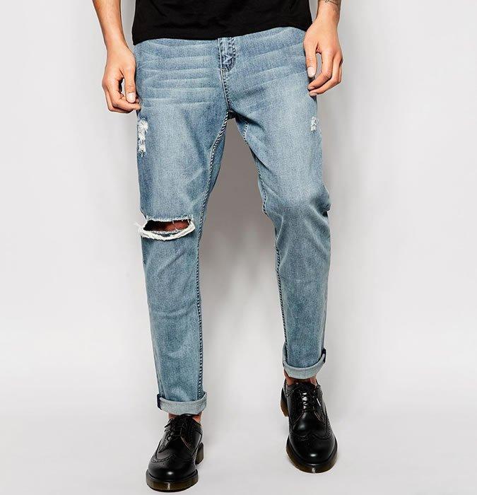 pantaloni din denim prespalati