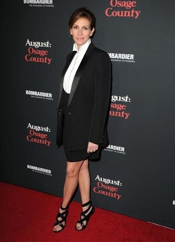 """arrives at the """"August: Osage County"""" - Los Angeles Premiere at Regal Cinemas L.A. Live on December 16, 2013 in Los Angeles, California."""