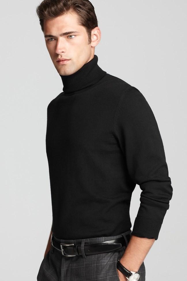 pulover guler inalt barbati