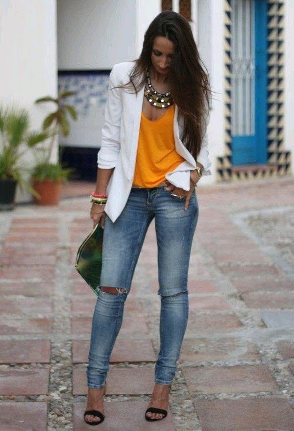 blazer alb+ bluza portocalie
