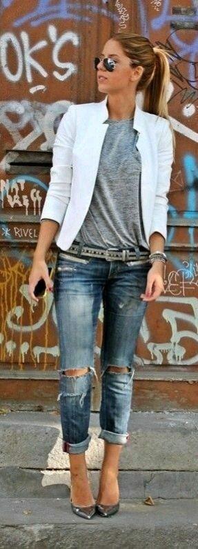 blazer alb+bluza gri