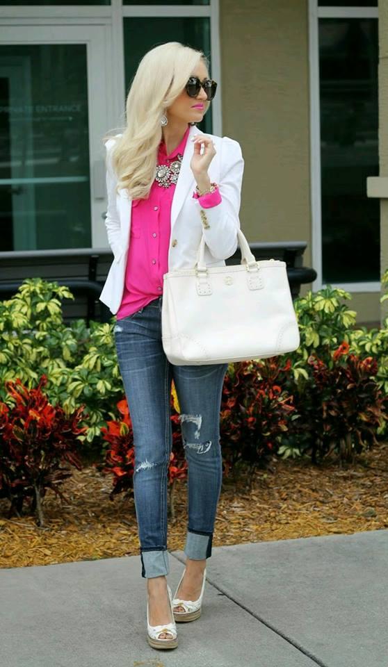 blazer alb+bluza roz