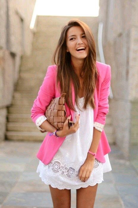blazer roz+rochie alba