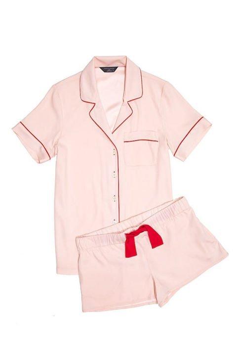 pijama roz maneca scurta