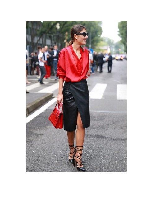 bluza rosie+fusta piele