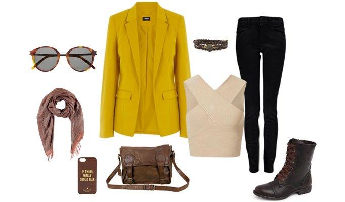 combinare blazer mustar
