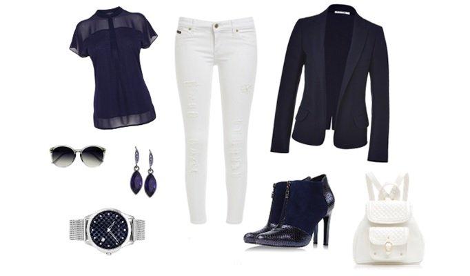 idei combinare blazer albastru