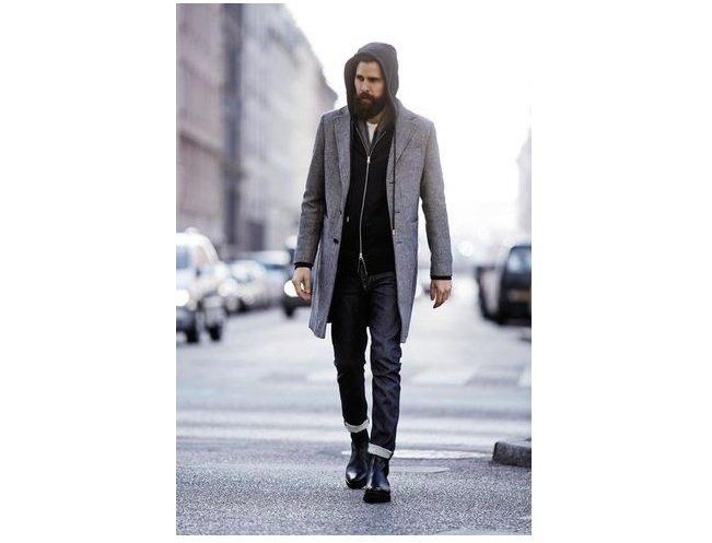 hanorac negru+haina lunga gri