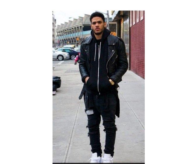 hanorac negru+jacheta piele neagra