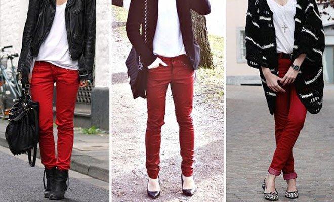 pantaloni skinny rosii