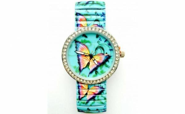 ceas-de-dama-cu-bratara-metalica-elastica-la-moda-viu-colorat-cu-fluturas-la-doar-59-ron-inloc-de-129-ron-www-adalis-ro
