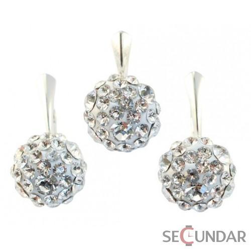 set-argint-925-cu-swarovski-elements-chaton-ball-crystal-clear