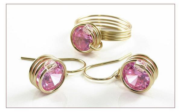 spiral-set-rose-inel-si-cercei-din-sirma-de-aur-14k-diamante-industriale-zirconiu-8-mm-realizat-manual-produs-romanesc-100-serie
