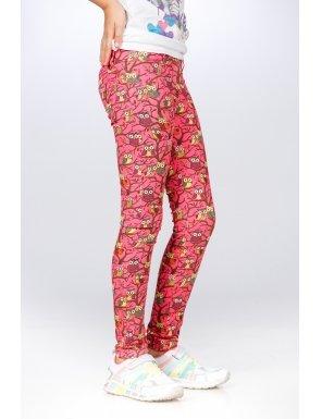 pantaloni-roz-fetite-cu-imprimeu-bufnite-be-you