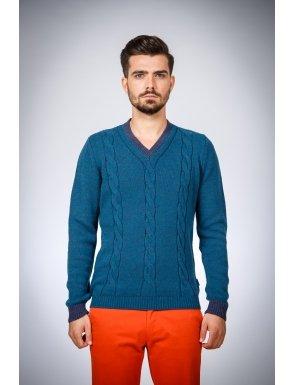 pulover-albastru-cu-cotiere-contrast-be-you