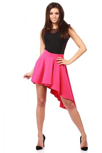 fusta-scurta-asimetrica-de-culoare-roz-1