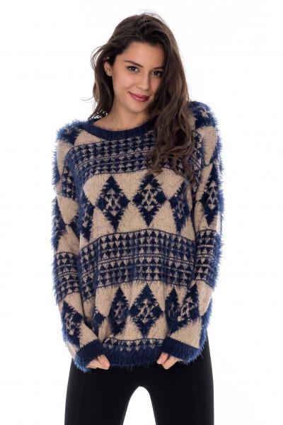 pulover-femei-bleumarin-cu-imprimeu-roh-roh