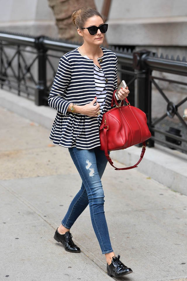 Olivia Palermo seen out with a red bag shopping at an antique show